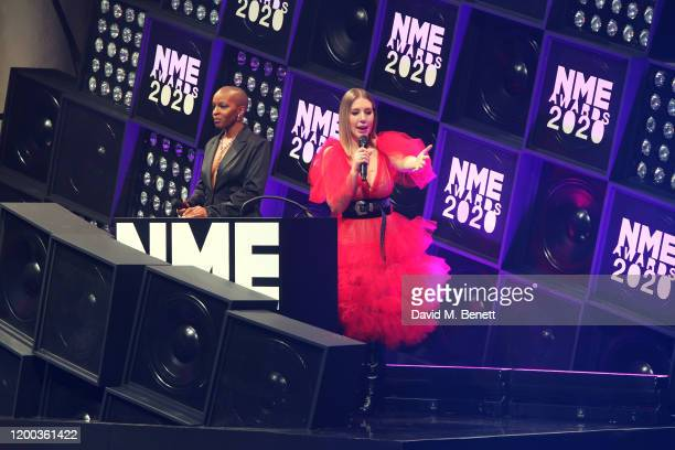 Julie Adenuga and Katherine Ryan present at The NME Awards 2020 at the O2 Academy Brixton on February 12 2020 in London England
