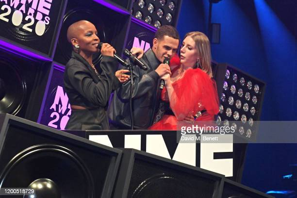 Julie Adenuga Slowthai and Katherine Ryan attend The NME Awards 2020 at the O2 Academy Brixton on February 12 2020 in London England