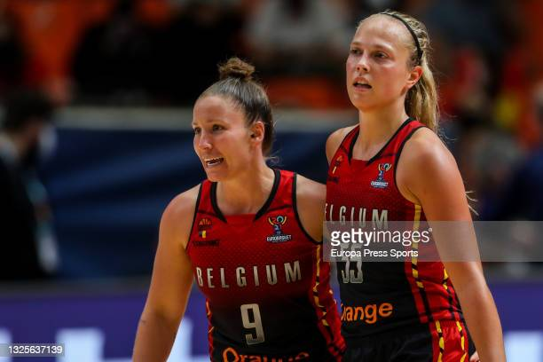 Julie Allemand and Marjorie Carpreaux of Belgium celebrate a point during the Women's EuroBasket 2021 semifinal 2 match played between Serbia and...