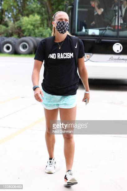 Julie Allemand of the Indiana Fever arrives prior to a game against the Las Vegas Aces on August 11, 2020 at Feld Entertainment Center in Palmetto,...