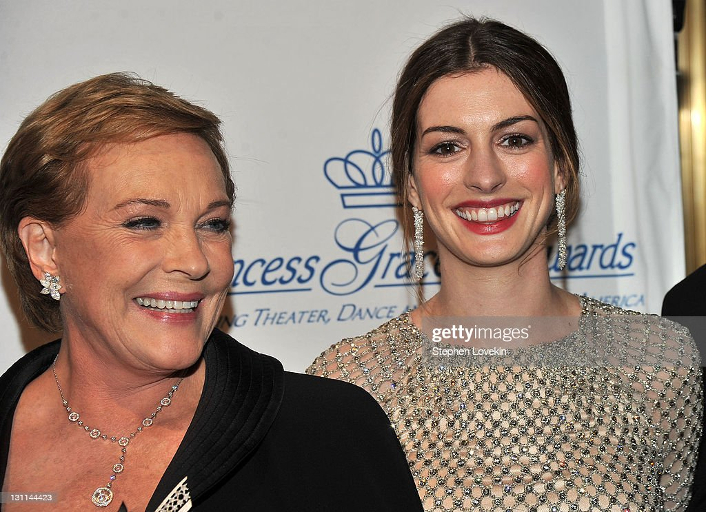 Julie Andrews and Anne Hathaway attend the Princess Grace Awards Gala at Cipriani 42nd Street on November 1, 2011 in New York City.