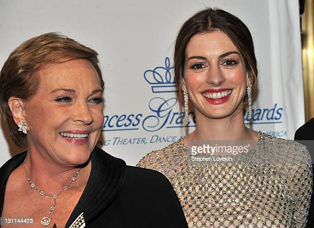 Julie Andrews and Anne Hathaway attend the Princess Grace Awards Gala at Cipriani 42nd Street on November 1 2011 in New York City
