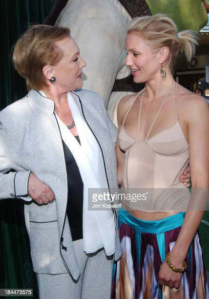 """Julie Andrews and Cameron Diaz during """"Shrek 2"""" Los Angeles Premiere - Green Carpet at Mann Village Theatre in Westwood, California, United States."""