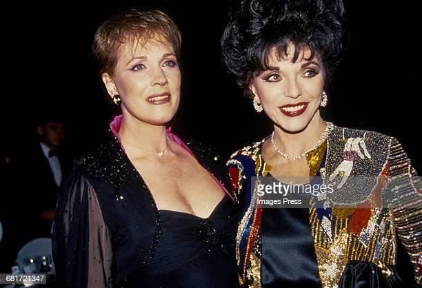 Julie Andrews and Joan Collins attend the 45th Annual Tony Awards circa 1991 in New York City