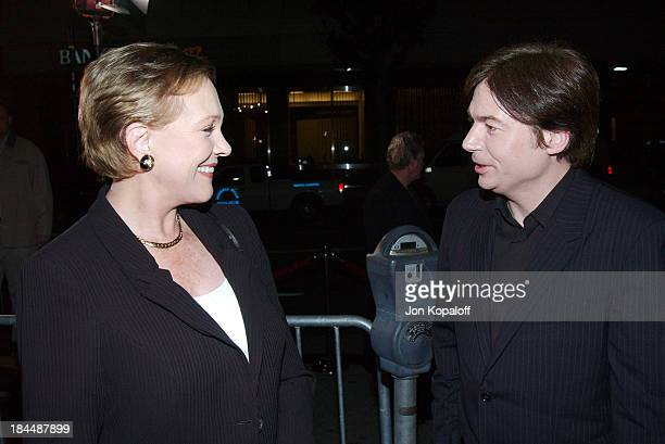 """Julie Andrews and Mike Myers during DreamWorks Celebrates The DVD Release of """"Shrek 2"""" at Spago in Beverly Hills, California, United States."""