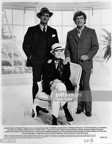 Julie Andrews James Garner and Robert Preston pose for the MGM movie 'Victor Victoria' circa 1982