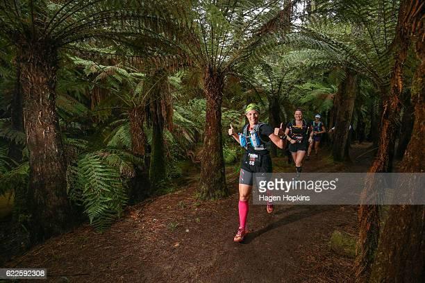 Julie Andrews of Brisbane Australia competes in the 50km run during the Tarawera Trail Run on November 12 2016 in Rotorua New Zealand