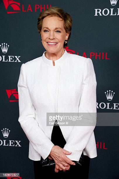 Julie Andrews poses for a photo on the red carpet at Walt Disney Concert Hall on September 27 2012 in Los Angeles California