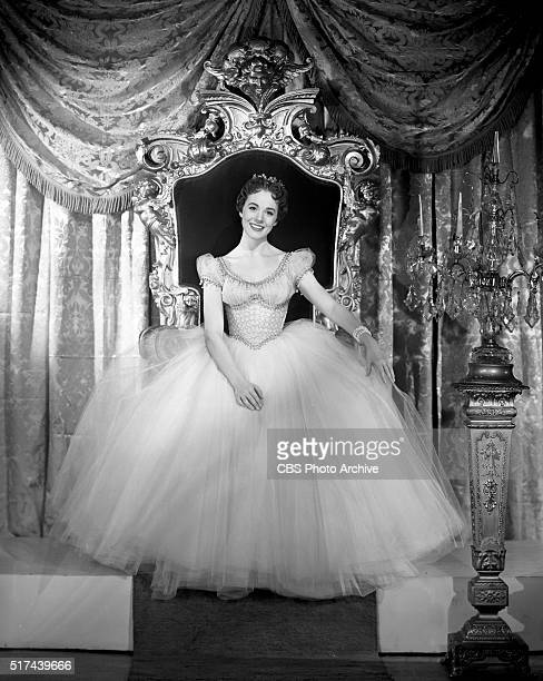 Julie Andrews poses for Cinderella the 1957 CBS Television presentation written by Oscar Hammerstein and Richard Rodgers New York NY Image dated...