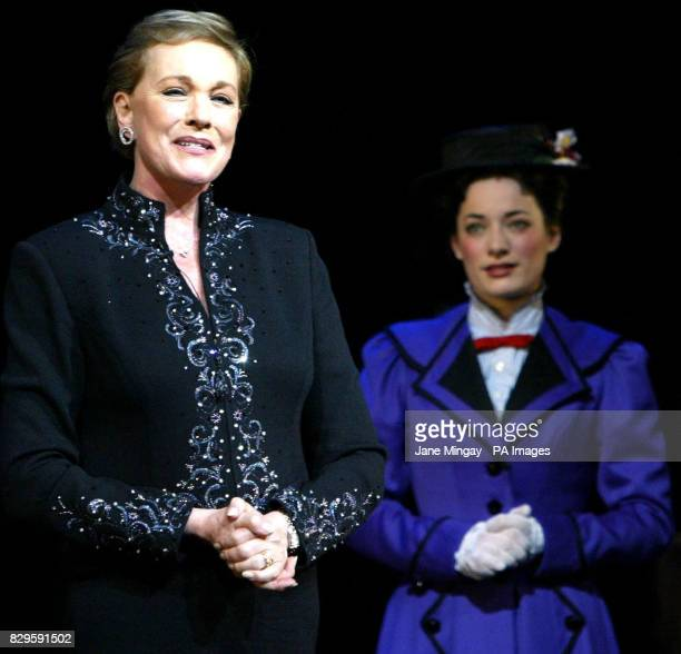 Julie Andrews speaks while Laura Michelle Kelly who plays Mary Poppins listens on stage during a curtaincall