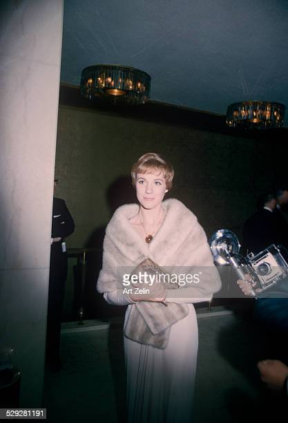 Julie Andrews wearing a fur wrap formal event circa 1970 New York
