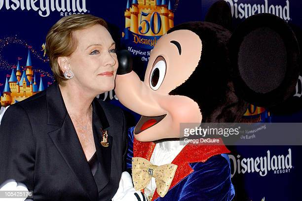 Julie Andrews with Mickey Mouse during Disneyland 50th Anniversary Happiest Homecoming On Earth Celebration at Disneyland in Anaheim California...