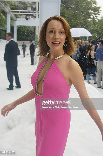 Julie Ann Emery arrives at the Museum of Natural History for the world premiere of the movie The Day After Tomorrow Arrivals were blanketed with fake...
