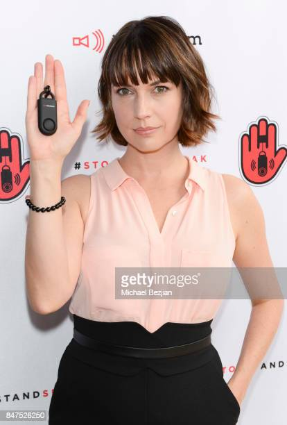 Julie Ann Emery attends iMaxAlarm pledges to #StopStandSpeak against Street Harassment at the GBK Pilot Pen Pre Awards Celebrity Lounge 2017 Day 1 on...
