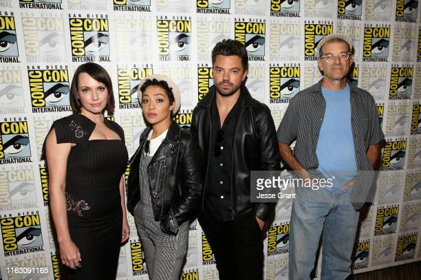 Julie Ann Emery Ruth Negga Dominic Cooper and Mark Harelik attend the Preacher Press Conference at Comic Con 2019 on July 19 2019 in San Diego...