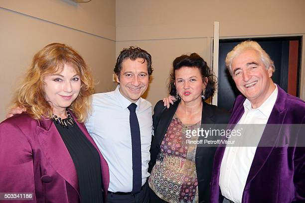 Julie Arnold Laurent Gerra JeanLoup Dabadie and his wife Veronique attend the Laurent Gerra One Man Show at L'Olympia on December 25 2015 in Paris...