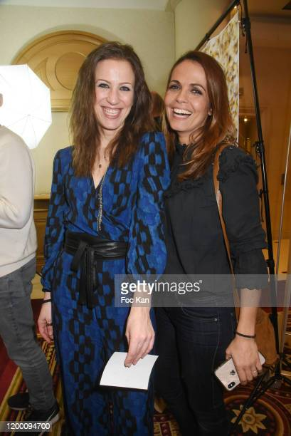Julie Baret and Cali Morales from M6 Meteo attend the Power Attitude Party at Hotel Marriott on January 16 2020 in Paris France