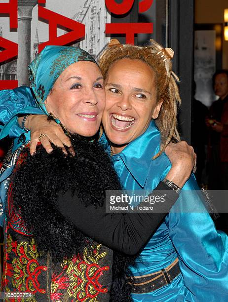 Julie Belafonte and Shari Belafonte attend the opening night reception of Shari Belafonte's ITALY exhibit at the Chair and The Maiden on October 7...