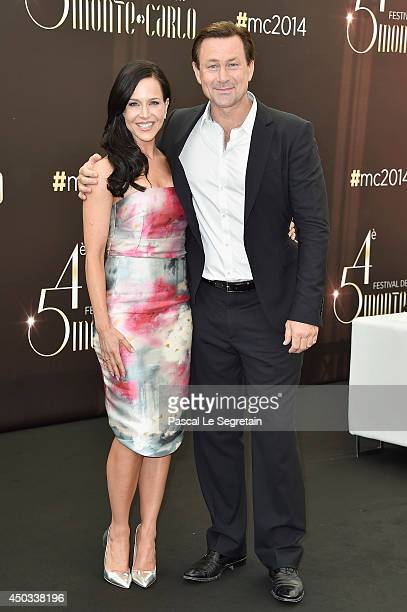 Julie Benz and Grant Bowler attend a photocall at Grimaldi forum on June 9 2014 in MonteCarlo Monaco