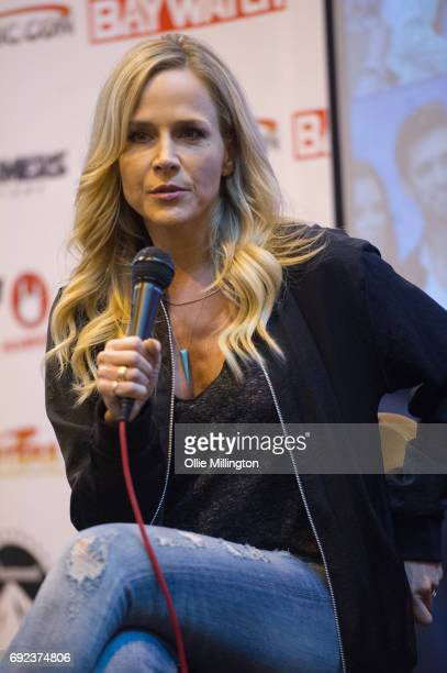 Julie Benz participates in an open format QA with fans at The Birmingham Film and Comic Con Collectormaina 24 at NEC Arena on June 4 2017 in...