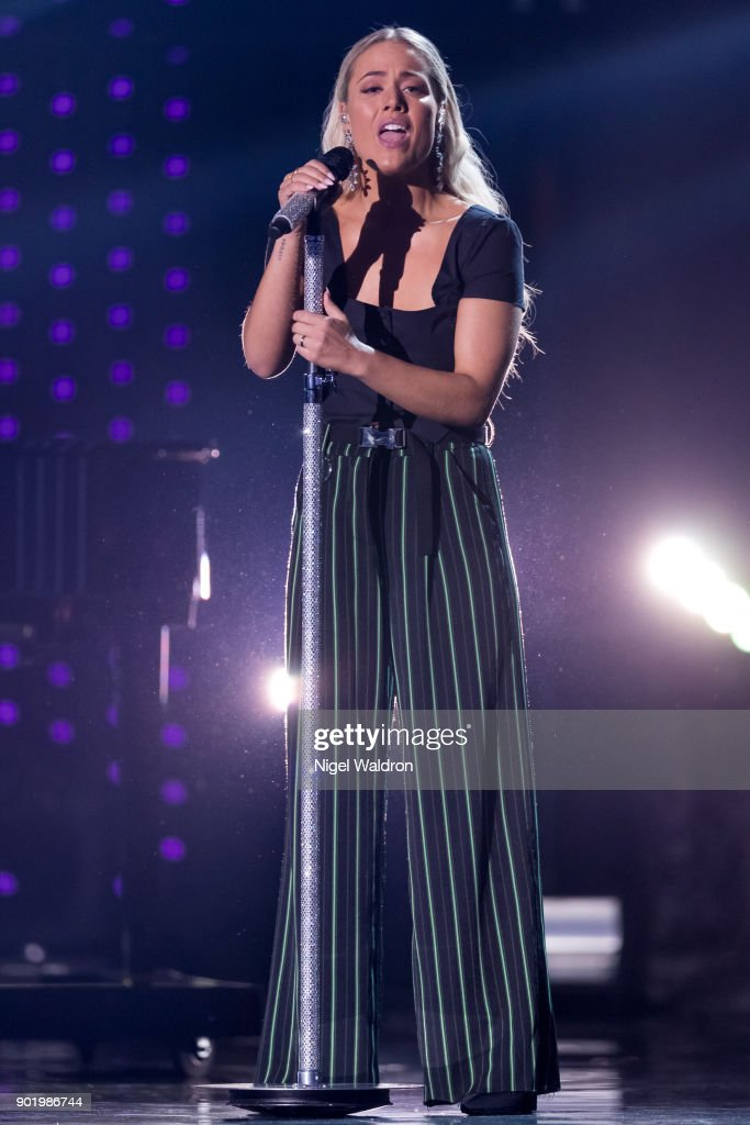Julie Bergan performs during the Sport Gala Awards at the Olympic Amphitheater on January 6, 2018 in Hamar, Norway.