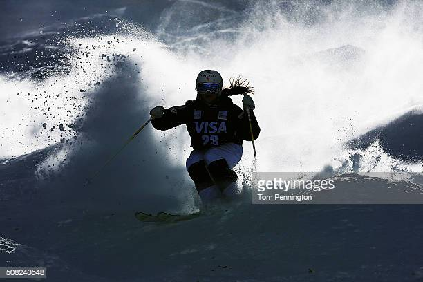 Julie Bergeron of Canada takes a practice run for the women's moguls for the 2016 FIS Freestyle Ski World Cup at Deer Valley Resort on February 3...