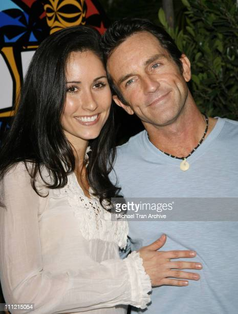 Julie Berry and Jeff Probst during Survivor Cook Islands Finale at CBS Television City in Los Angeles California United States