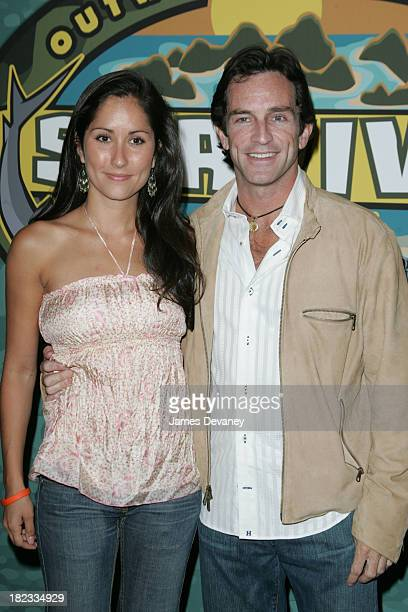 Julie Berry and Jeff Probst during Survivor Palau Finale and Reunion Show Arrivals at Ed Sullivan Theatre in New York City New York United States