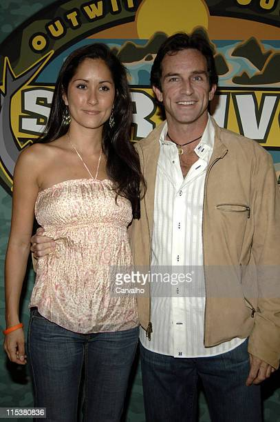 Julie Berry and Jeff Probst during Survivor Palau Finale/Reunion Show Arrivals at Ed Sullivan Theater in New York City New York United States