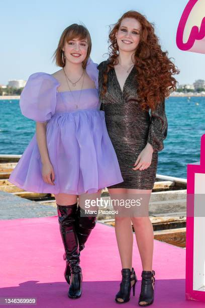 """Julie Berthollet and Camille Berthollet attend the """"Exterminate All The Brutes"""" photocall during the 4th Canneseries Festival on October 13, 2021 in..."""