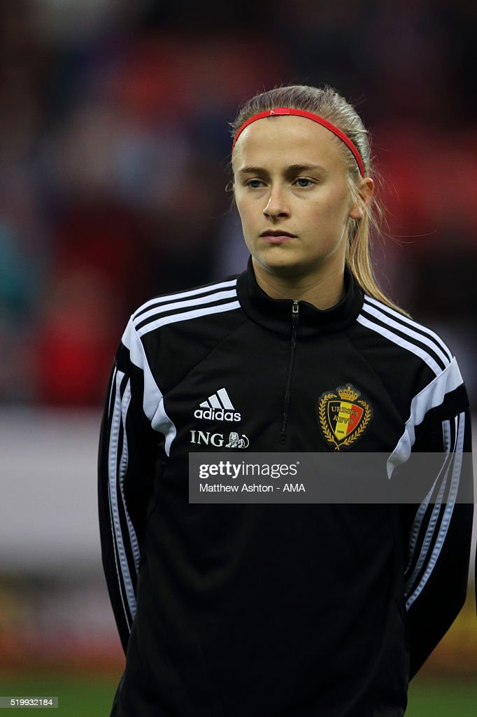 Julie Biesemans of Belgium during the UEFA Women's European Qualifier between England and Belgium at The New York Stadium on April 8, 2016 in Rotherham, England.