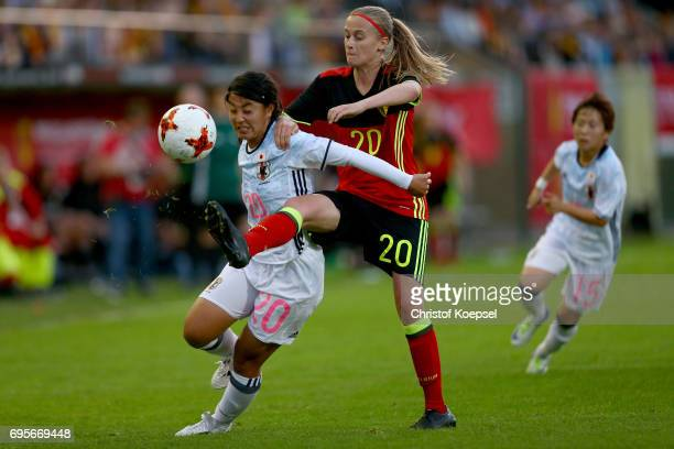 Julie Biesmans of Belgium challenges Ayumi Oya of Japan during the Women's International Friendly match between Belgium and Japan at Stadium Den...
