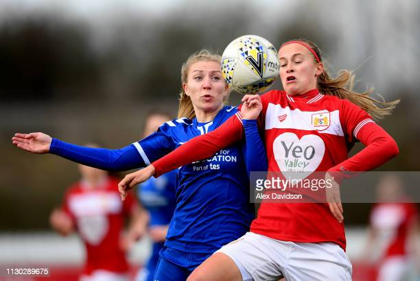 Julie Biesmans of Bristol City Women and Emily Roberts of Durham Women FC compete for the ball during the SSE Women's FA Cup game between Bristol...