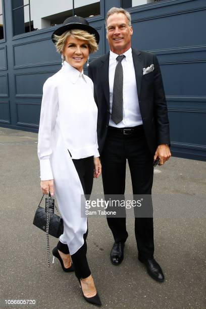 Julie Bishop and David Panton pose on Derby Day at Flemington Racecourse on November 3 2018 in Melbourne Australia