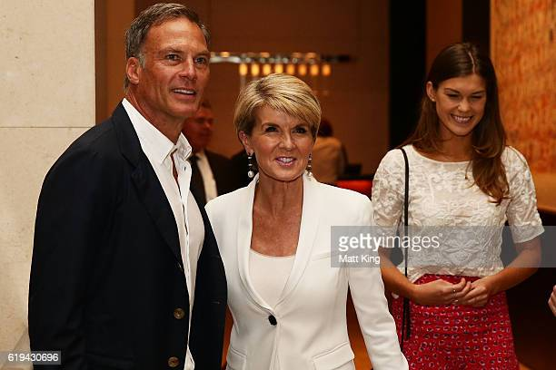 Julie Bishop and her partner David Panton attend the launch of Carolyn Hartz's new cookbook 'Sugar Free Baking' at Grand Hyatt Melbourne on October...