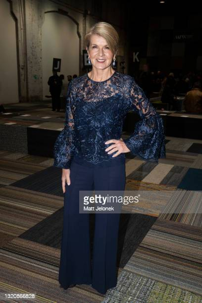 Julie Bishop attends the Jordan Dalah show during Afterpay Australian Fashion Week 2021 Resort '22 Collections at Carriageworks on May 31, 2021 in...