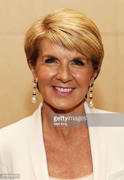 Julie Bishop attends the launch of Carolyn Hartz's new cookbook 'Sugar Free Baking' at Grand Hyatt Melbourne on October 31 2016 in Melbourne...