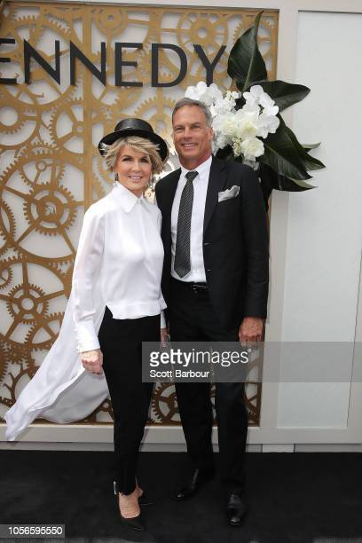 Julie Bishop David Panton poses at the Kennedy Marquee on Derby Day at Flemington Racecourse on November 3 2018 in Melbourne Australia