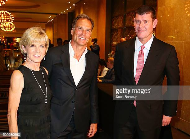 Julie Bishop her partner David Panton and James Packer arrive at Crown Casino's New Year's Eve Party at Crown Palladium on December 31 2015 in...