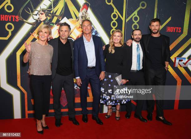 Julie Bishop Mark Ruffalo David Peyton Kylie WatsonWheeler Brad Winderbaum and Chris Hemsworth arrives for the premiere screening of Thor Ragnarok...