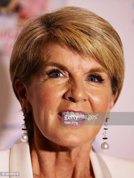 Julie Bishop speaks at the launch of Carolyn Hartz's new cookbook 'Sugar Free Baking' at Grand Hyatt Melbourne on October 31 2016 in Melbourne...