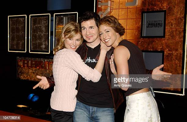 Julie Bowen Hal Sparks and Paige Davis during Celebrity Jeopardy 2003 Taping Backstage and Rehearsals at Sony Pictures Studios in Culver City...