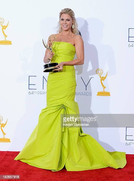 Julie Bowen winner for Outstanding Supporting Actress in a Comedy Series poses in the press room during the 64th Annual Primetime Emmy Awards at...