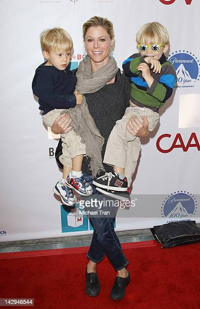 Julie Bowen with her sons arrive at the Milk + Bookies 3rd Annual Story Time Celebration held at Skirball Cultural Center on April 15, 2012 in Los...