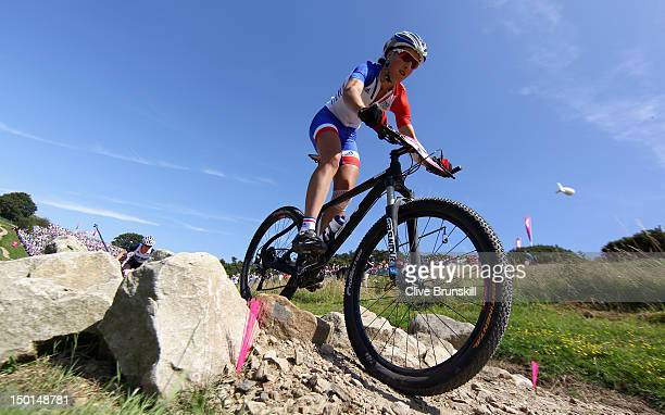 Julie Bresset of France during the Women's Crosscountry Mountain Bike race on Day 15 of the London 2012 Olympic Games at at Hadleigh Farm on August...