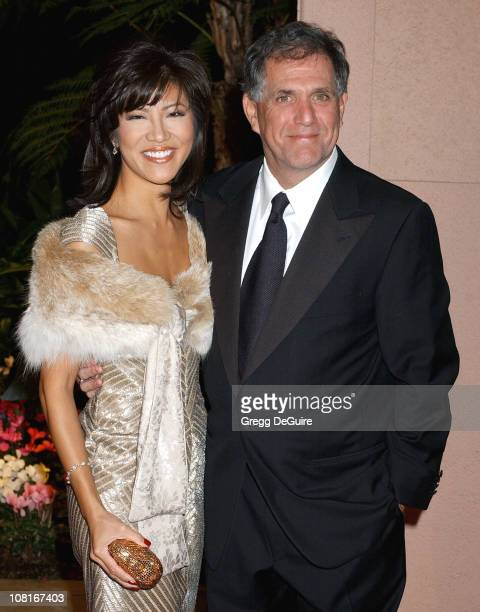 Julie Chen and Les Moonves during Clive Davis' 2005 PreGRAMMY Awards Party Arrivals at Beverly Hills Hotel in Beverly Hills California United States