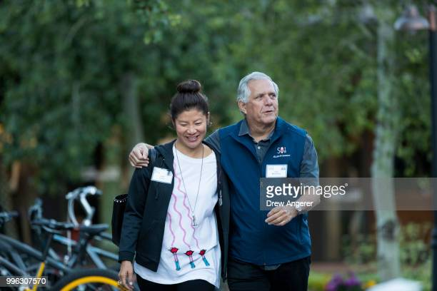 Julie Chen and Leslie 'Les' Moonves president and chief executive officer of CBS Corporation arrive for a morning session of the annual Allen Company...