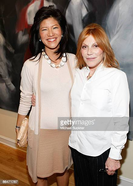 Julie Chen and Stacy Winkler attend the presentation of Wounded curated by Carole Bayer Sager at LA Art House on May 6 2009 in West Hollywood...