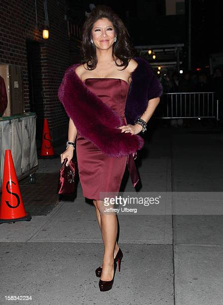 Julie Chen departs Late Show with David Letterman at Ed Sullivan Theater on December 13 2012 in New York City