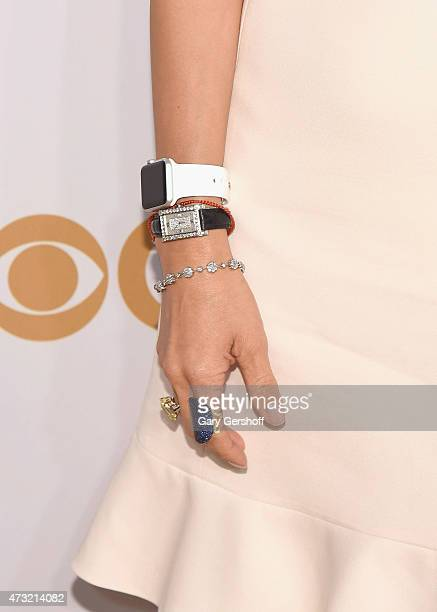 Julie Chen jewelry and watch detail attends the 2015 CBS Upfront at The Tent at Lincoln Center on May 13 2015 in New York City